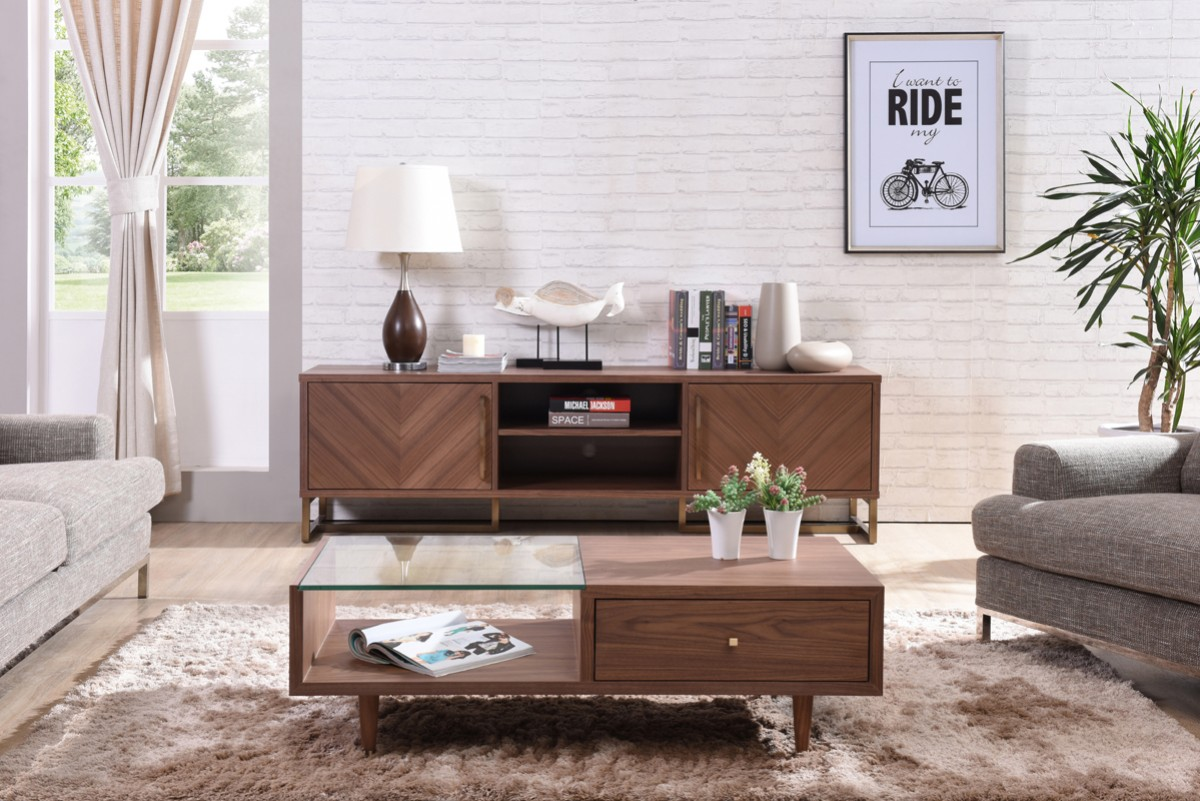 Modrest Chevron Modern Walnut Tv Stand Tv Amp Media Stands