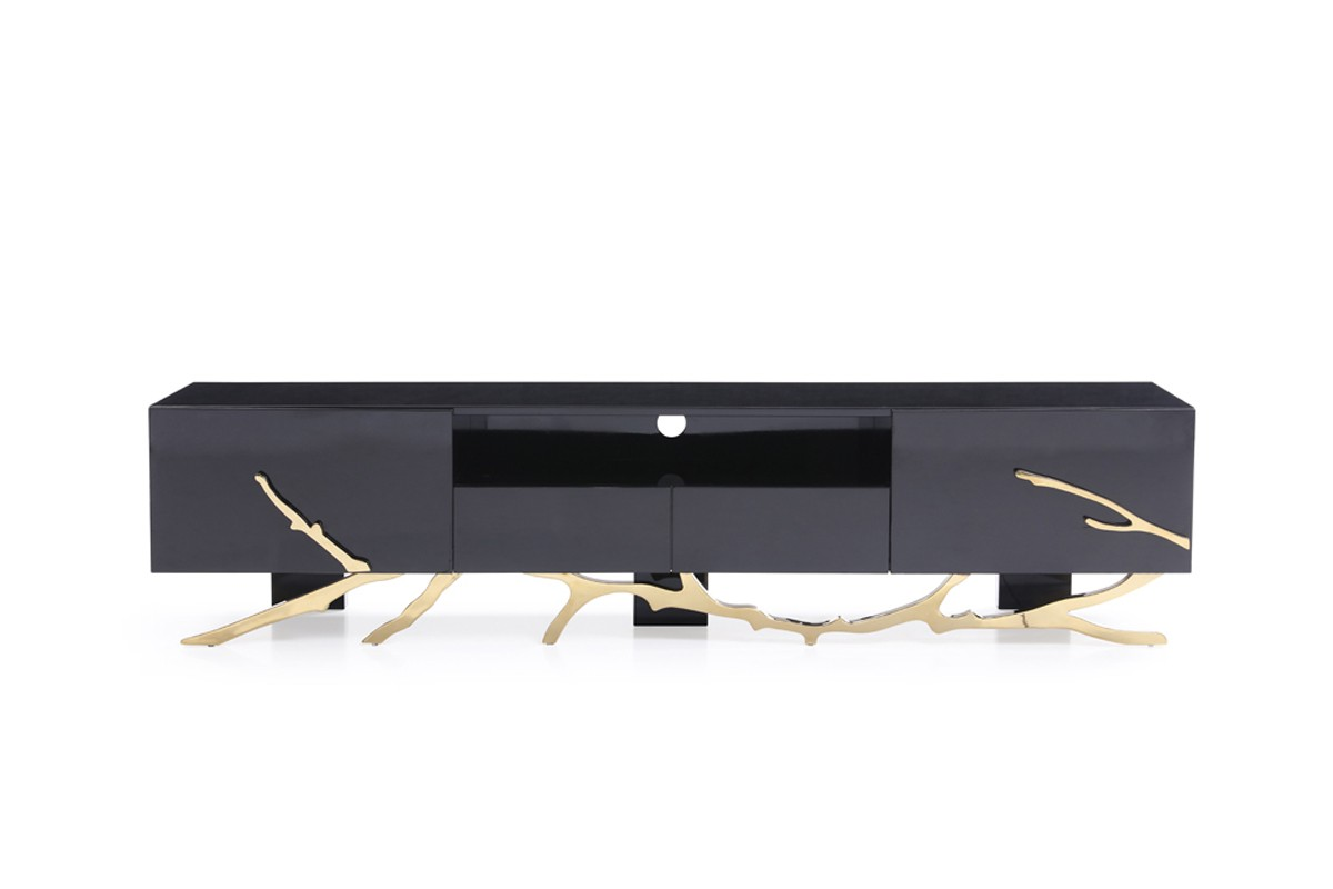Modrest Legend Modern Black Amp Gold Tv Stand