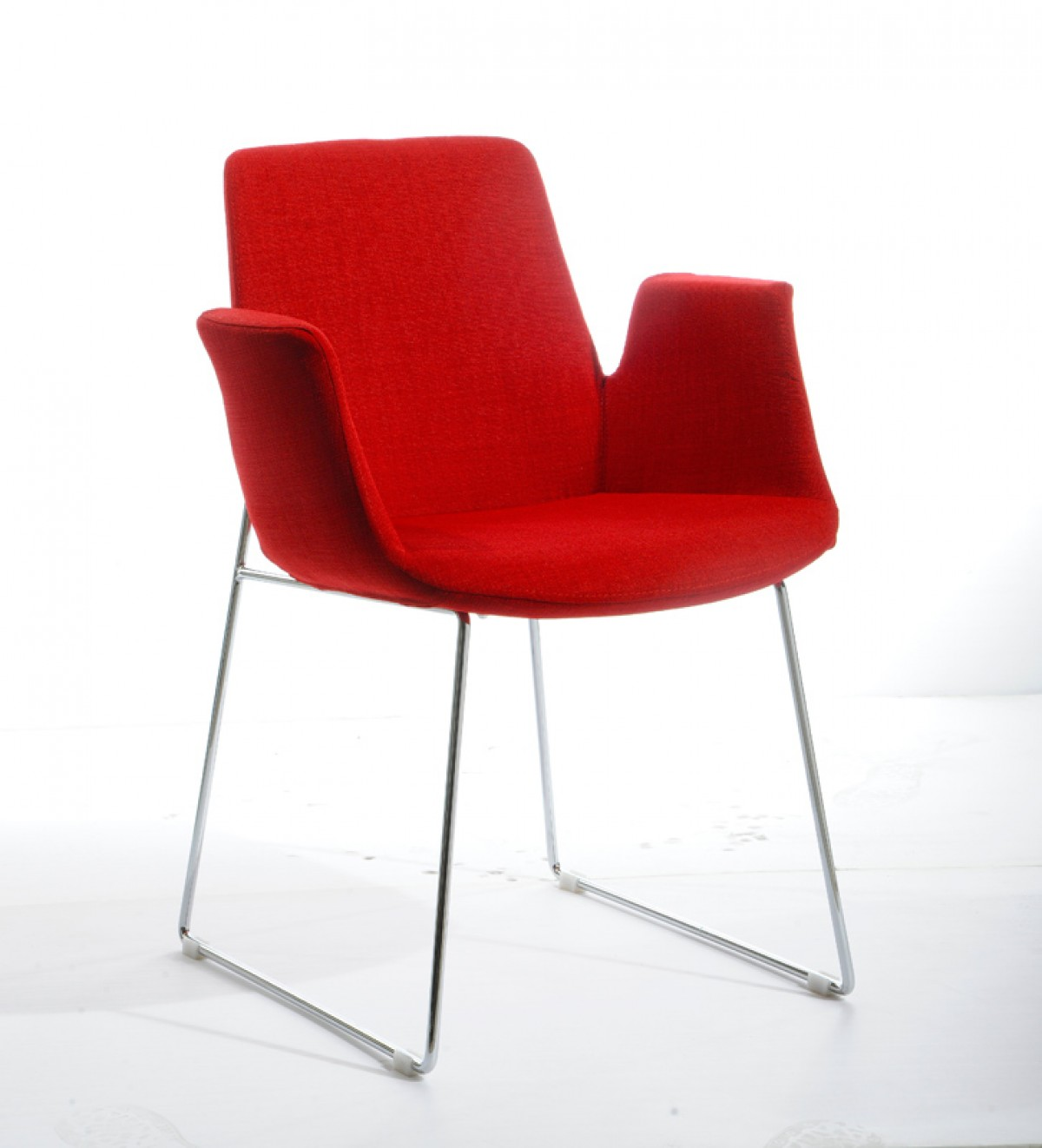 Modrest altair modern red fabric dining chair dining for Red dining room chairs
