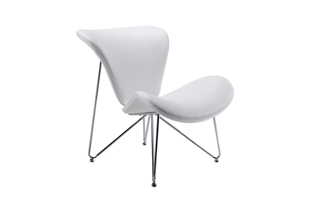 Modrest Decatur Contemporary White Leatherette Accent Chair