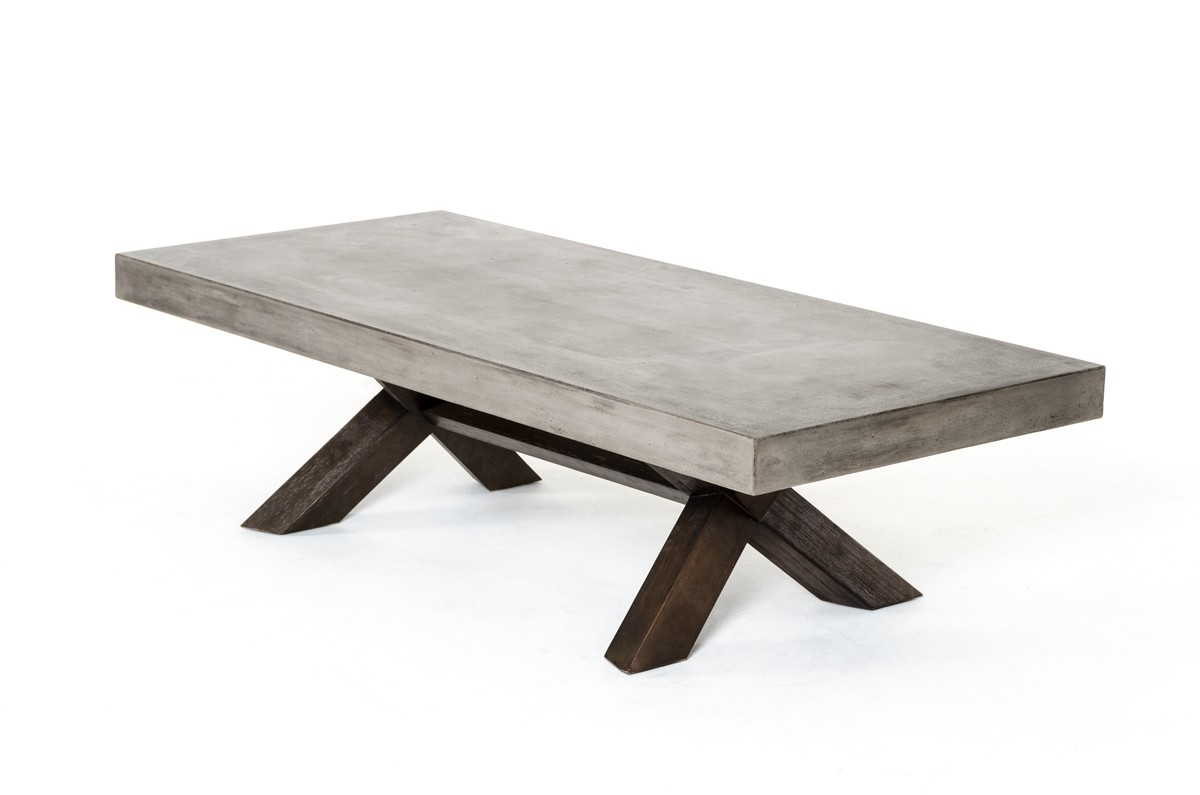 Modrest Urban Concrete Coffee Table - Concrete and chrome coffee table
