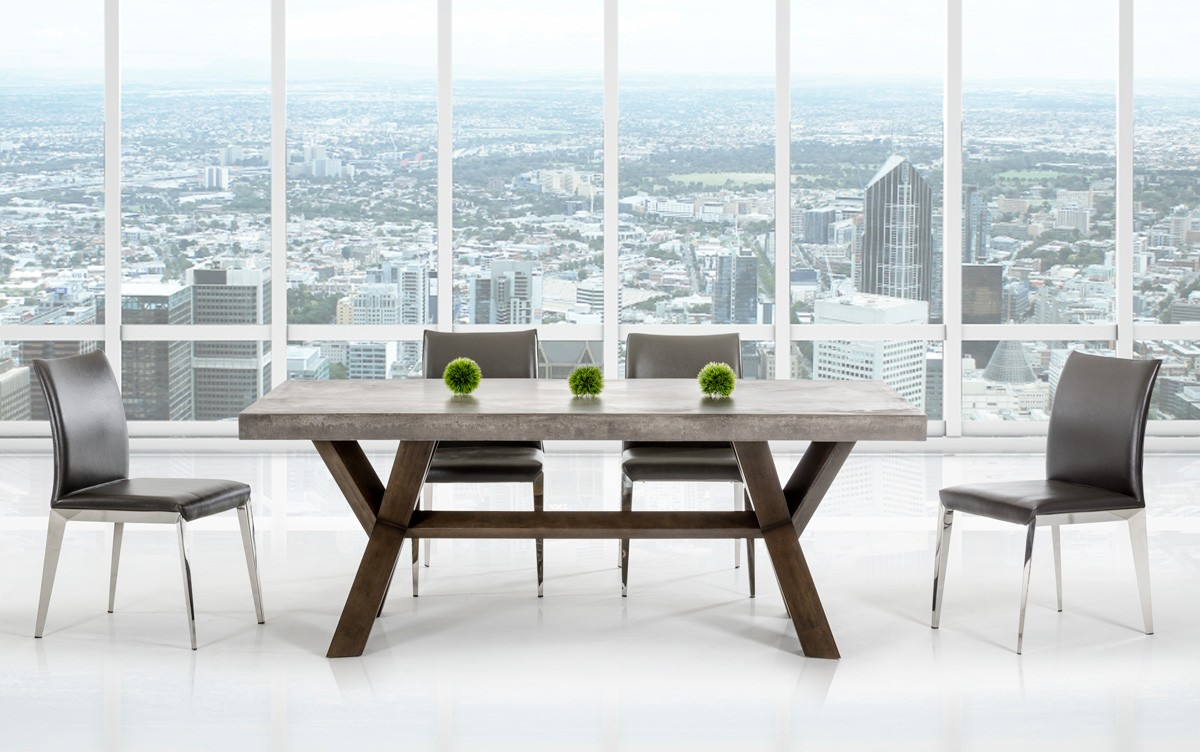 Modrest Urban Concrete Rectangular Dining Table Modern