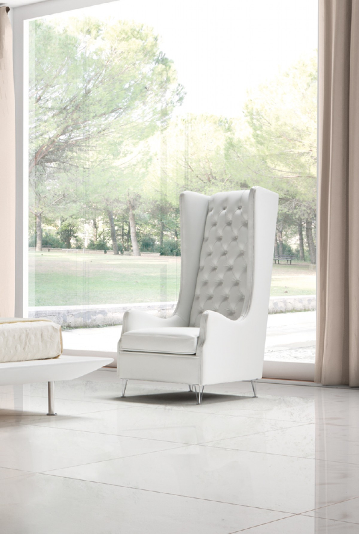estro salotti vanity modern white leather lounge chair estro