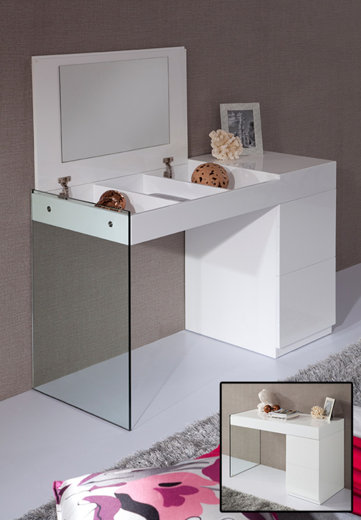 Modrest Volare Modern White Floating Glass Vanity With Mirror