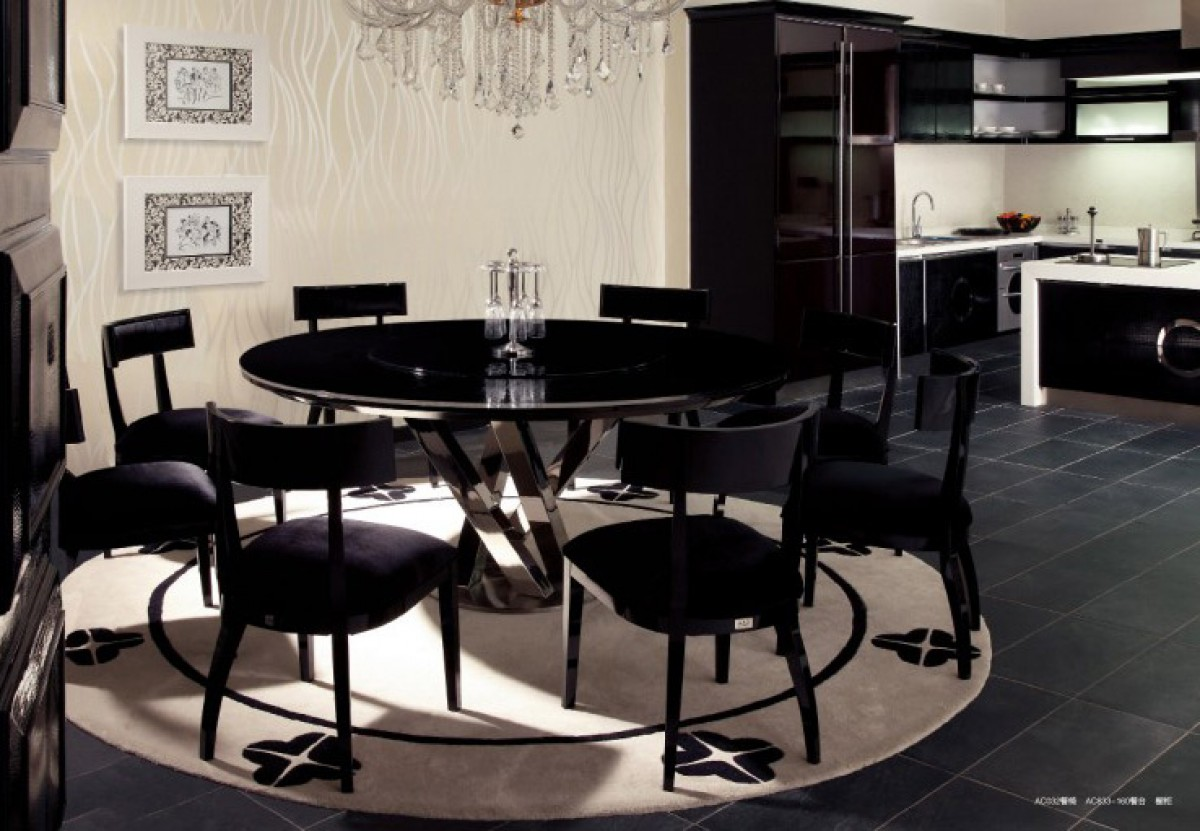 A&X Spiral - Round Black Crocodile Lacquer Table w Lazy Susan ...
