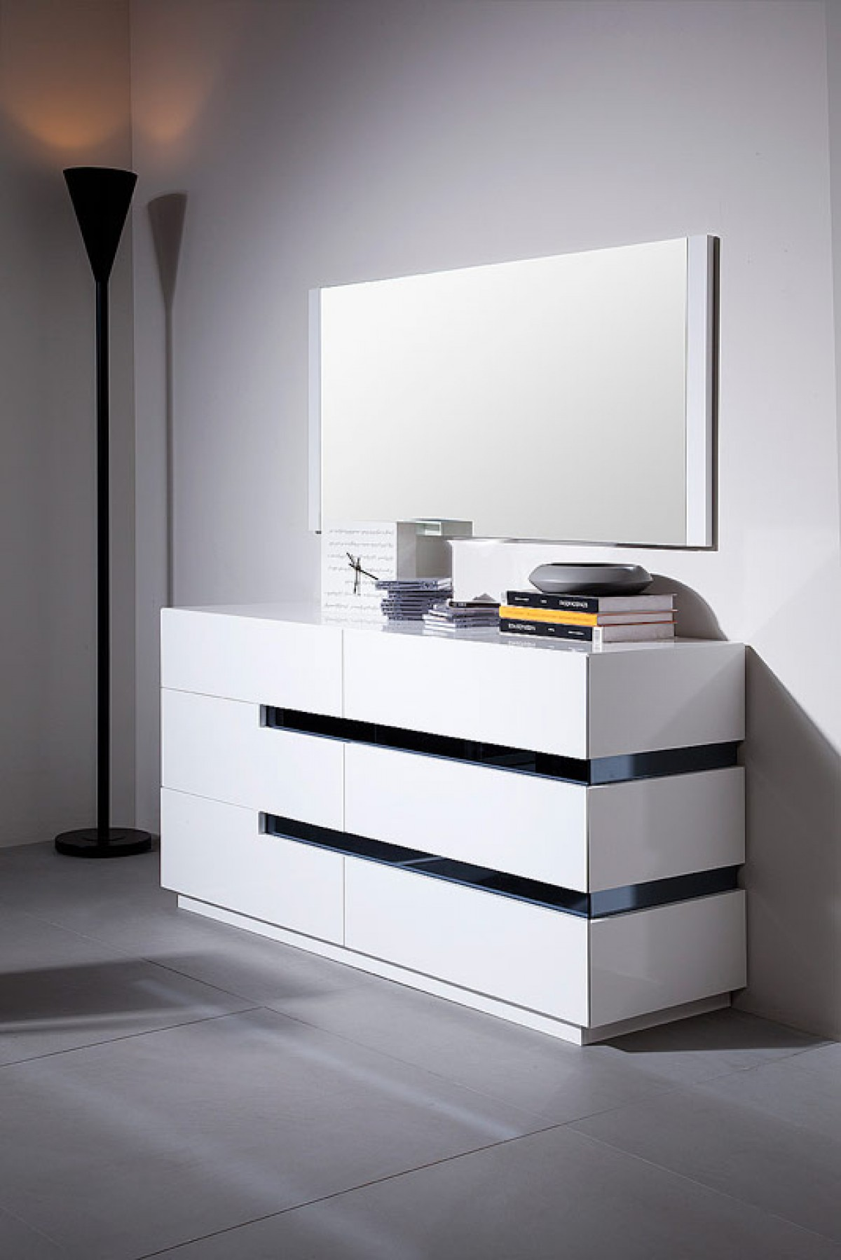 Modrest Polar - Contemporary White Gloss Dresser - Dressers - Bedroom