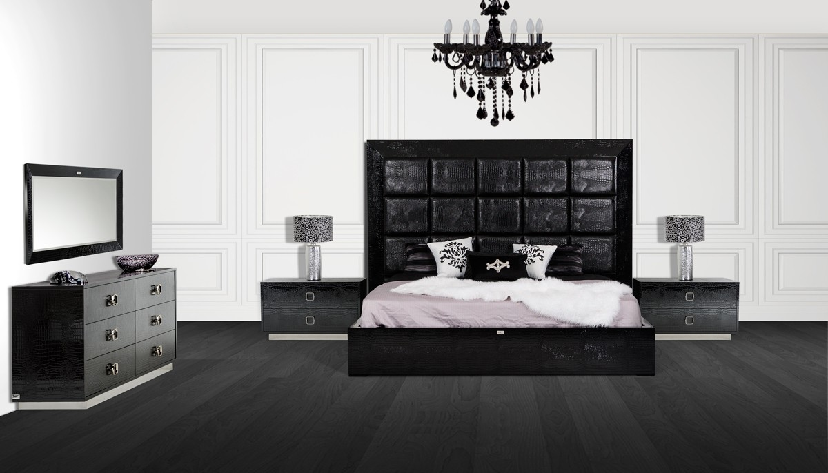 A&X Victoria Modern Black Crocodile Bedroom Set - Bedroom - A&X ...