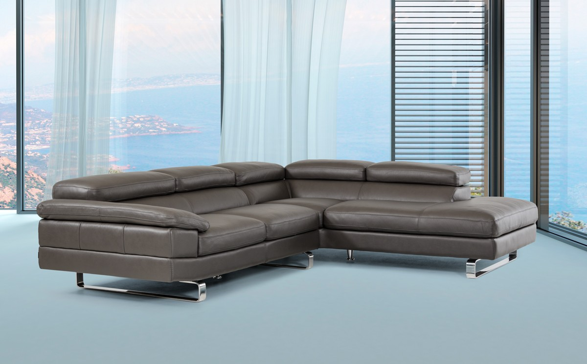 - David Ferrari Violetta Italian Modern Grey Leather Sectional Sofa