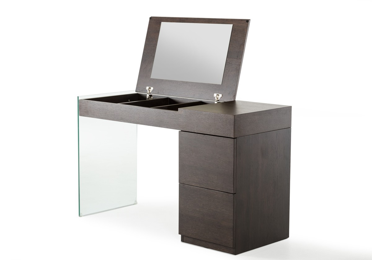 Modrest Volare Modern Brown Oak Floating Glass Vanity w ...