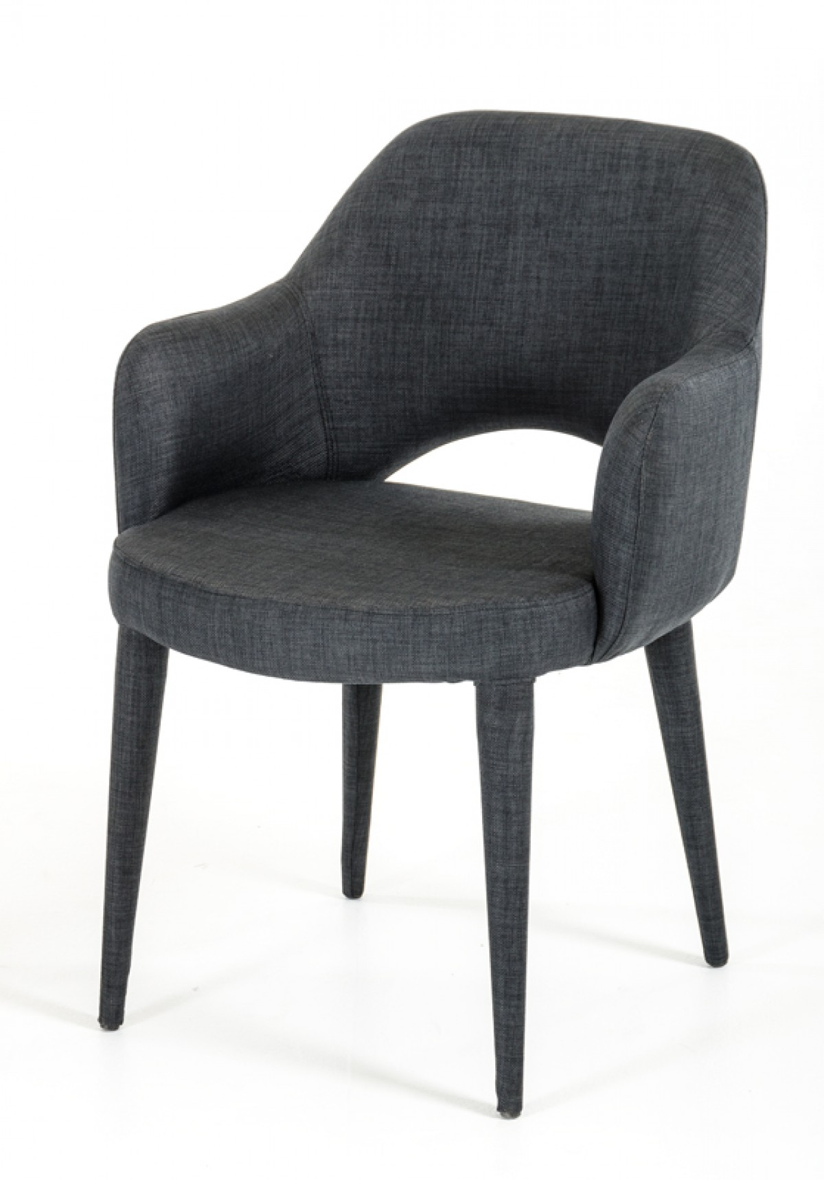 modrest williamette modern dark grey fabric dining chair