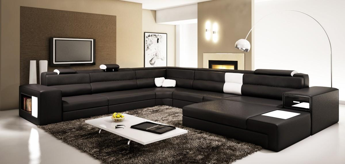 Casa nova Polaris 5022- Black Contemporary Leather Sectional Sofa : modern furniture sectional - Sectionals, Sofas & Couches