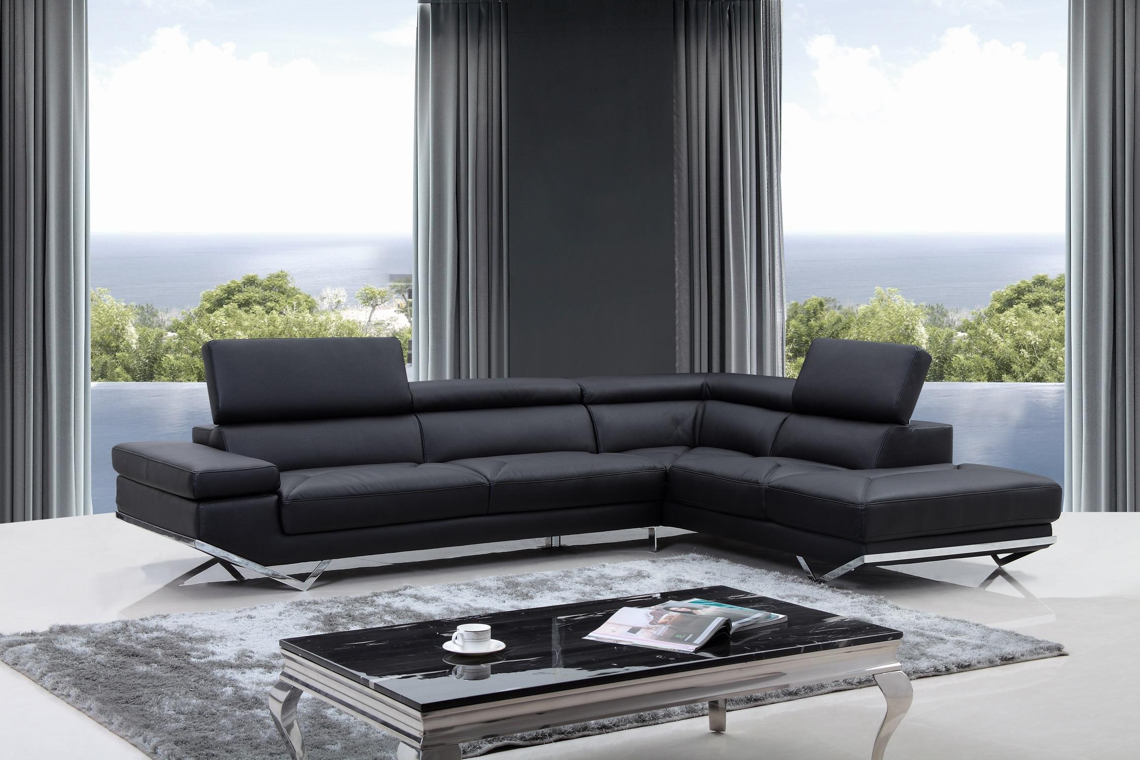 Free Shipping Quebec Modern Black Eco Leather Sectional Sofa For