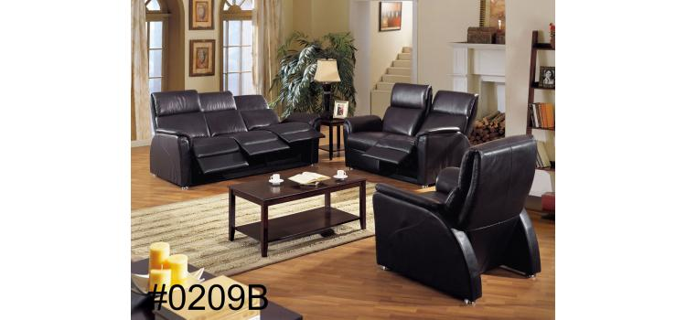 New Black Genuine Leather Sofa Set with recliners