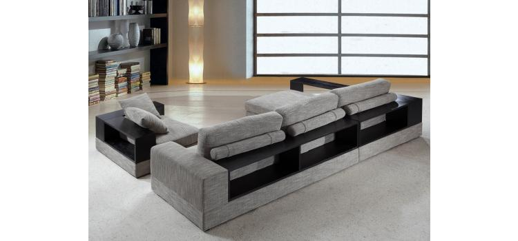 Anthem - Grey Fabric Modern Sectional with Wood Shelves