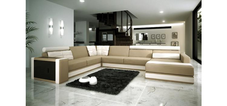 1003 - Modern Bonded Leather Sectional Sofa