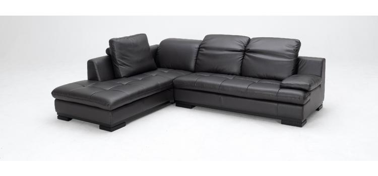 1052 - Espresso Bonded Leather Sectional Sofa (Left Facing Chaise)