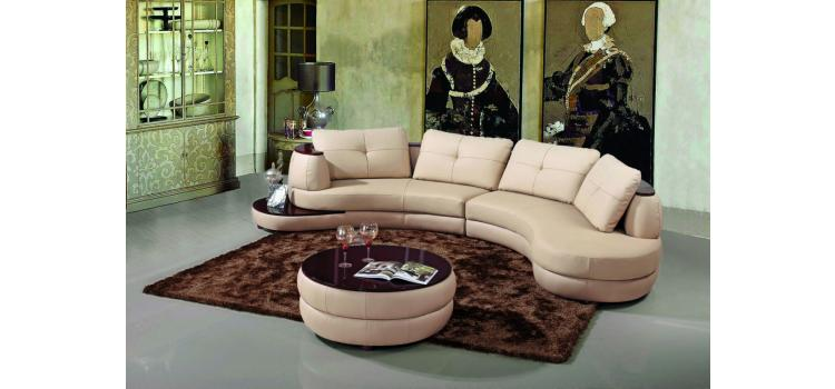 108 - Modern Bonded Leather Sectional Sofa