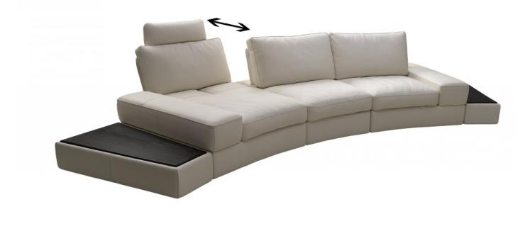 K-1295B White Top Grain Leather Sectional Sofa Set