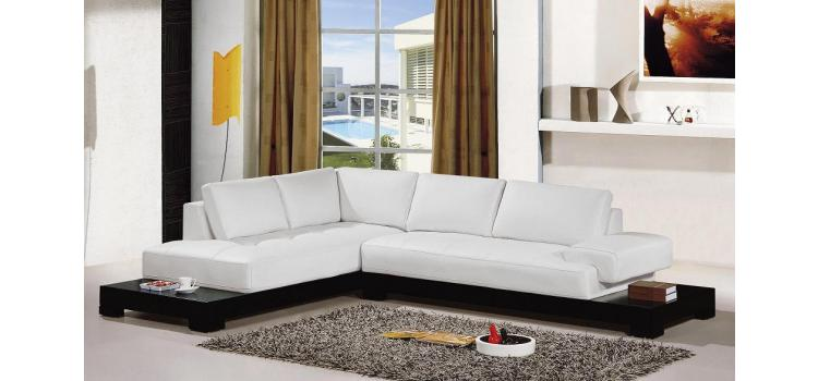 2226B Contemporary White Leather Sectional Sofa