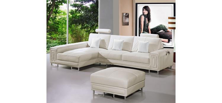 2265 - Modern Bonded Leather Sectional Sofa