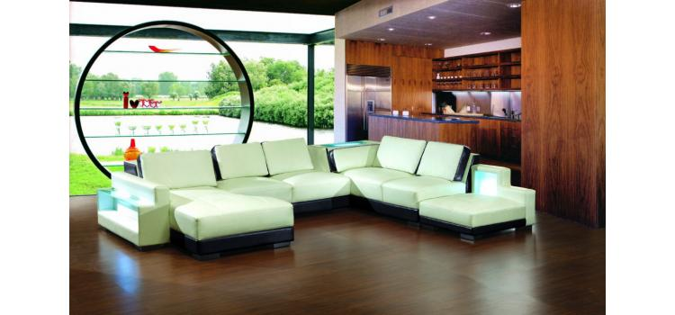 2267 - Modern Bonded Leather Sectional Sofa