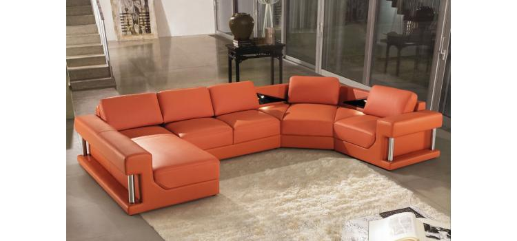 2315 - Modern Bonded Leather Sectional Sofa