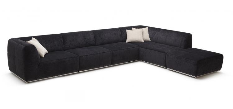 Modern Fabric Sectional Sofa and Ottoman