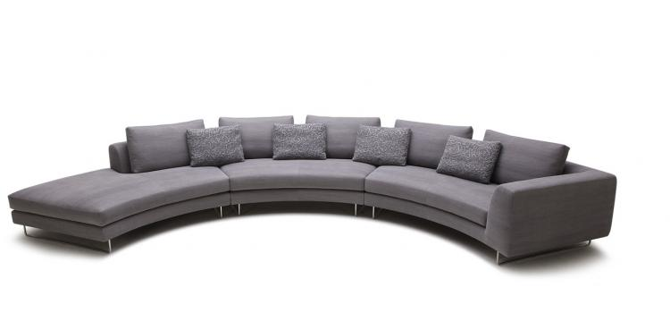 Modern Rounded Fabric Sectional Sofa