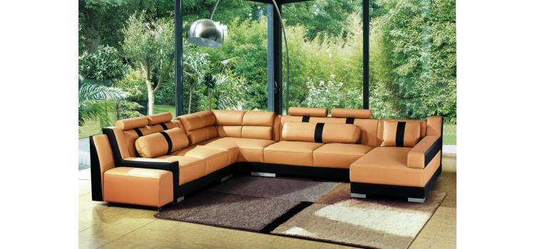 2512 - Modern Bonded Leather Sectional Sofa