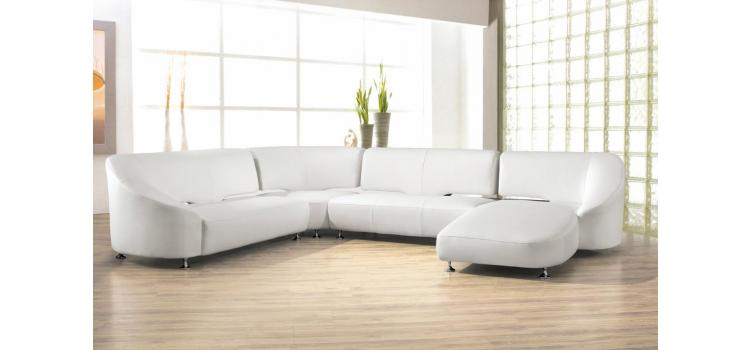2513 - Modern Bonded Leather Sectional Sofa