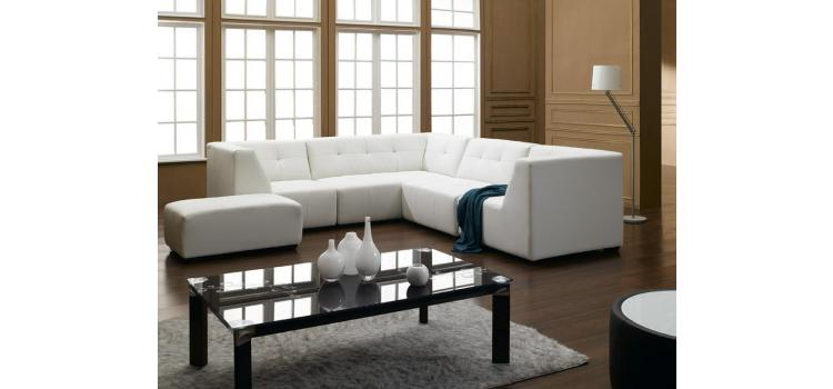 2827 Modern White Bonded Leather Sectional