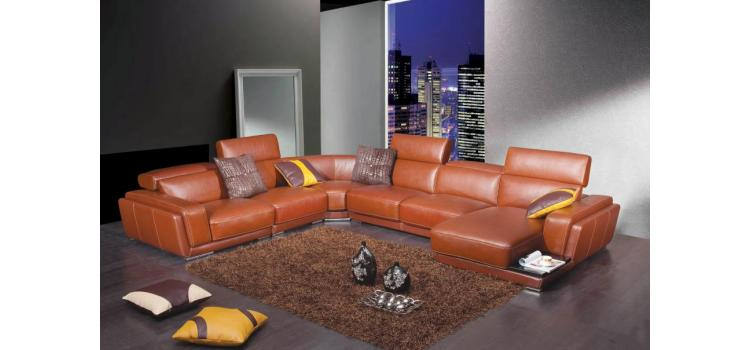 2996 - Modern Brown Leather Sectional Sofa