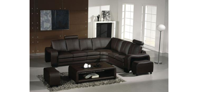 EV 3330 - Modern Espresso Leather Sectional Sofa