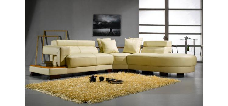 EV 3331 Contemporary Leather Sectional Sofa