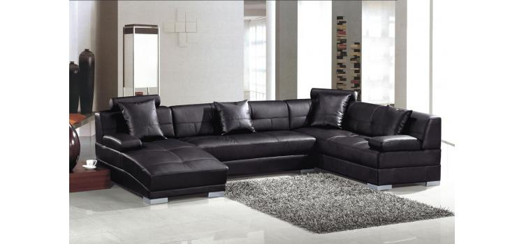 3334 Bonded Black Ultra modern sectional sofa