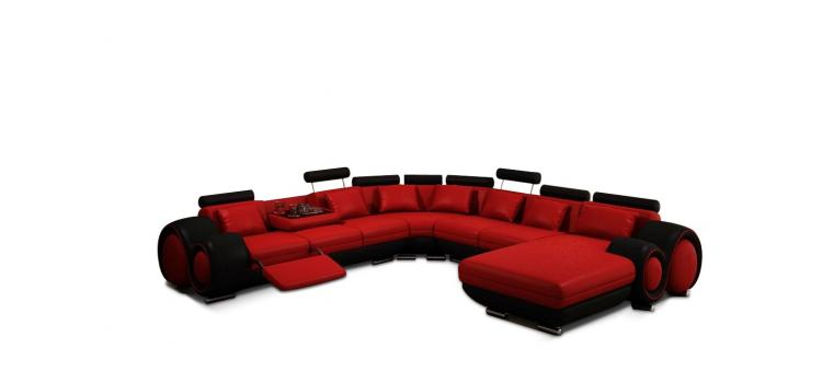 Contemporary Red and Black Sectional Sofa