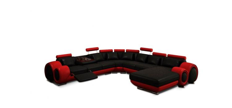 Modern Black and Red Leather Sectional Sofa
