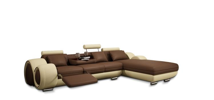 4085 Modern Bonded Leather Sectional Sofa with Recliner