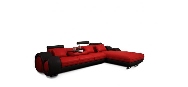 4085 Modern Leather Sectional Sofa with Recliner