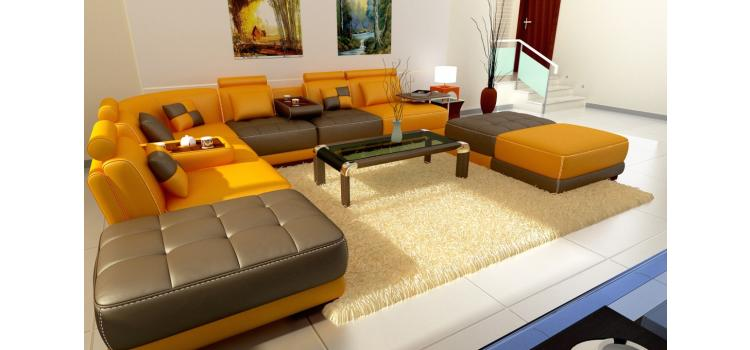 5004 - Modern Bonded Leather Sectional Sofa