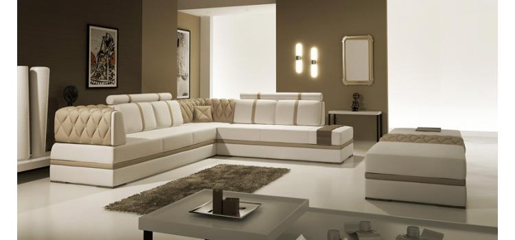 5013  Modern Italian Leather Sectional Sofa with Ottoman