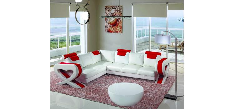 6001 - Modern Bonded Leather Sectional Sofa