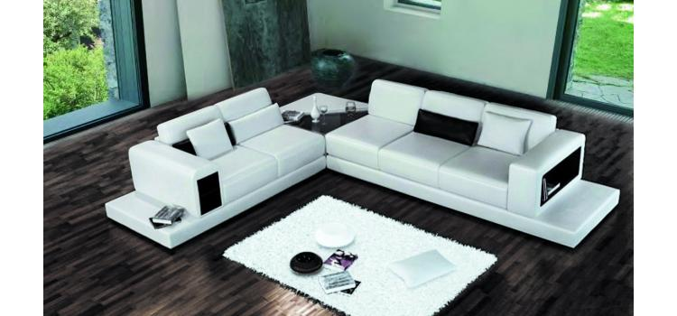 6102 - Modern Bonded Leather Sectional Sofa