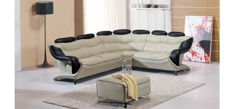 7066 Modern Leather Sectional with ottoman