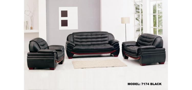 7174 - Contemporary Black Leather Sofa