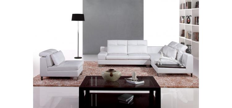 9980 - Modern Bonded Leather Sectional Sofa
