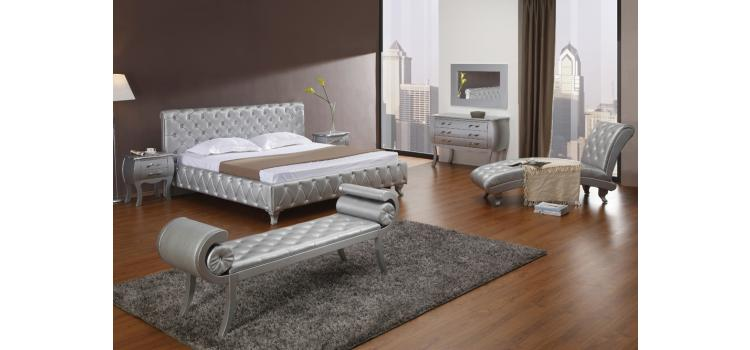 Monte Carlo Platinum Edition Silver Modern Bed with Crystals