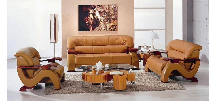 2033 Modern Camel Bonded leather Living Room Set