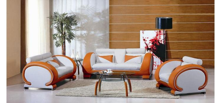 7391 Orange and White Sofa Set