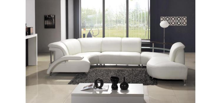Model: 104 - Modern White Leather Sectional Sofa